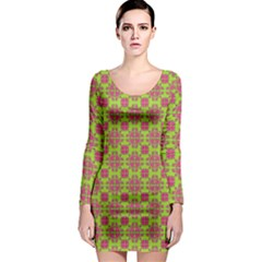 Pattern Long Sleeve Bodycon Dress