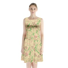 Floral pattern Sleeveless Chiffon Waist Tie Dress