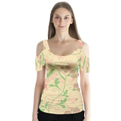 Floral pattern Butterfly Sleeve Cutout Tee