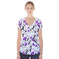 Floral pattern Short Sleeve Front Detail Top