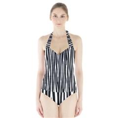 Zebra pattern Halter Swimsuit