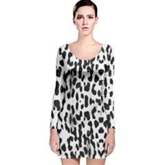 Animal print Long Sleeve Velvet Bodycon Dress