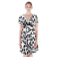 Animal print Short Sleeve V-neck Flare Dress