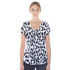 Animal print Short Sleeve Front Detail Top