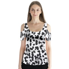 Animal print Butterfly Sleeve Cutout Tee
