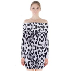 Animal print Long Sleeve Off Shoulder Dress