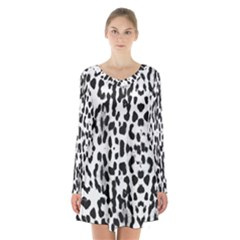 Animal print Long Sleeve Velvet V-neck Dress