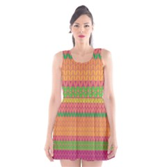 Pattern Scoop Neck Skater Dress