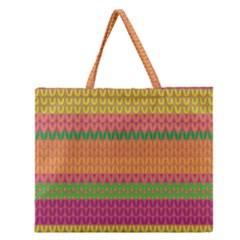 Pattern Zipper Large Tote Bag