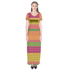 Pattern Short Sleeve Maxi Dress
