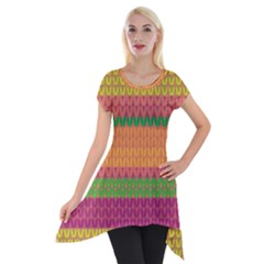 Pattern Short Sleeve Side Drop Tunic