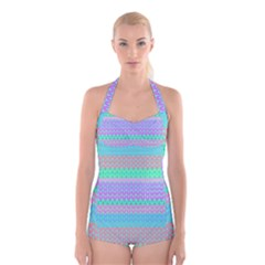 Pattern Boyleg Halter Swimsuit