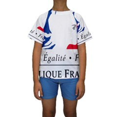 Symbol of the French Government Kids  Short Sleeve Swimwear