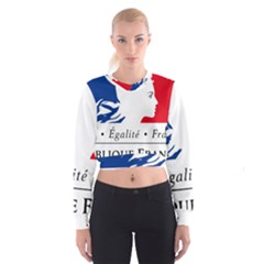 Symbol of the French Government Women s Cropped Sweatshirt