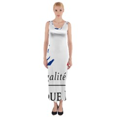 Symbol of the French Government Fitted Maxi Dress