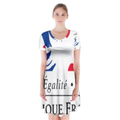 Symbol of the French Government Short Sleeve V-neck Flare Dress