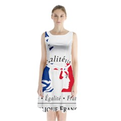 Symbol of the French Government Sleeveless Chiffon Waist Tie Dress