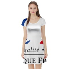 Symbol of the French Government Short Sleeve Skater Dress