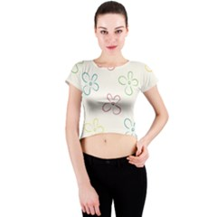 Flower Background Nature Floral Crew Neck Crop Top