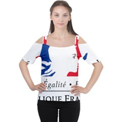 Symbol of the French Government Women s Cutout Shoulder Tee