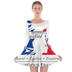 Symbol of the French Government Long Sleeve Skater Dress