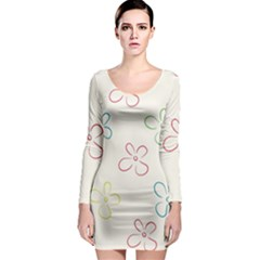 Flower Background Nature Floral Long Sleeve Bodycon Dress