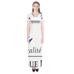 Symbol of the French Government Short Sleeve Maxi Dress