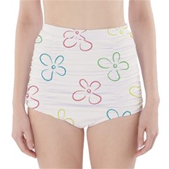 Flower Background Nature Floral High Waisted Bikini Bottoms