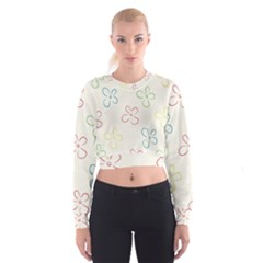 Flower Background Nature Floral Women s Cropped Sweatshirt