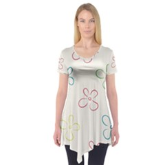 Flower Background Nature Floral Short Sleeve Tunic