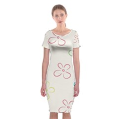 Flower Background Nature Floral Classic Short Sleeve Midi Dress