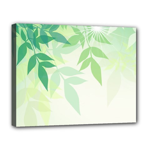 Spring Leaves Nature Light Canvas 14  x 11