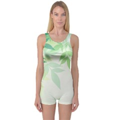 Spring Leaves Nature Light One Piece Boyleg Swimsuit