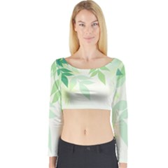 Spring Leaves Nature Light Long Sleeve Crop Top