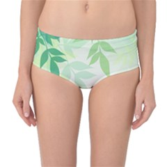 Spring Leaves Nature Light Mid Waist Bikini Bottoms