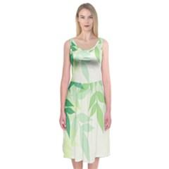 Spring Leaves Nature Light Midi Sleeveless Dress
