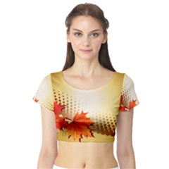 Background Leaves Dry Leaf Nature Short Sleeve Crop Top (Tight Fit)