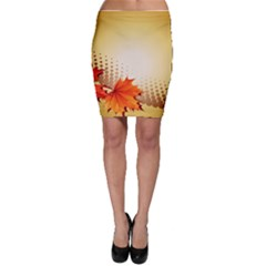 Background Leaves Dry Leaf Nature Bodycon Skirt