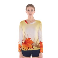 Background Leaves Dry Leaf Nature Women s Long Sleeve Tee