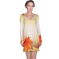 Background Leaves Dry Leaf Nature Long Sleeve Nightdress