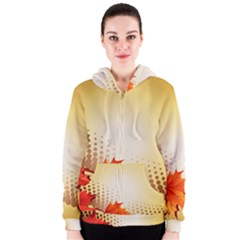 Background Leaves Dry Leaf Nature Women s Zipper Hoodie