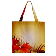 Background Leaves Dry Leaf Nature Zipper Grocery Tote Bag