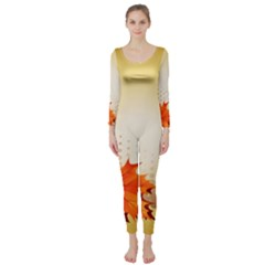 Background Leaves Dry Leaf Nature Long Sleeve Catsuit