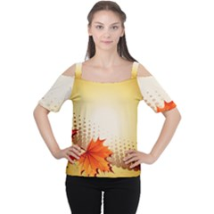 Background Leaves Dry Leaf Nature Women s Cutout Shoulder Tee