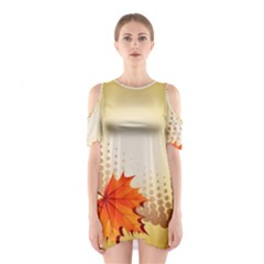 Background Leaves Dry Leaf Nature Shoulder Cutout One Piece