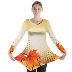 Background Leaves Dry Leaf Nature Long Sleeve Tunic