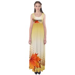Background Leaves Dry Leaf Nature Empire Waist Maxi Dress