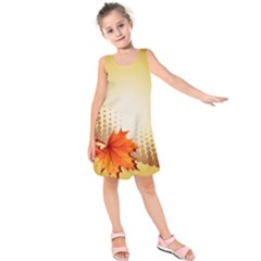 Background Leaves Dry Leaf Nature Kids  Sleeveless Dress