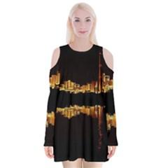Waste Incineration Incinerator Velvet Long Sleeve Shoulder Cutout Dress
