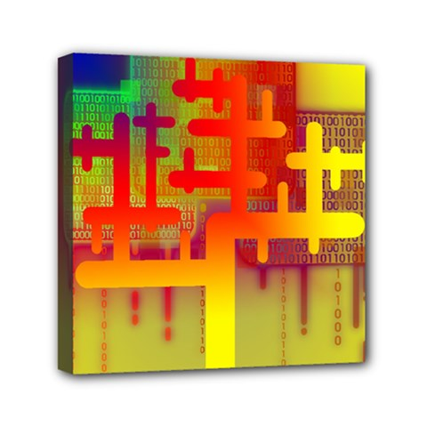 Binary Binary Code Binary System Mini Canvas 6  x 6